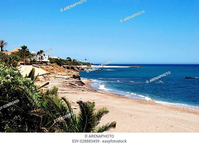 View along the sandy beach, Mojacar, Almeria Province, Andalusia, Spain, Western Europe