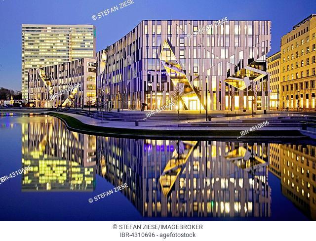 Dreischeibenhaus and Kö-Bogen office and retail complex by architect Daniel Libeskind, Düsseldorf, North Rhine-Westphalia, Germany
