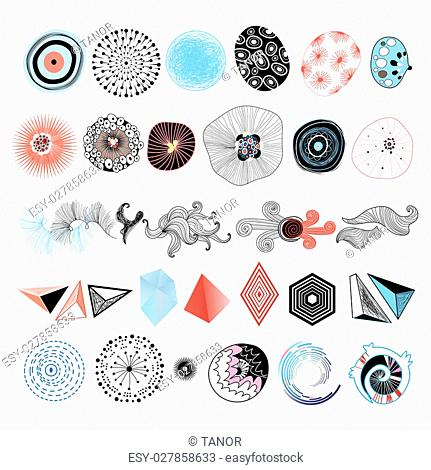 Collection of abstract elements on a white background