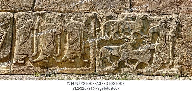 Alaca Hoyuk Hittite relief sculpted orthostat panels of the Sphinx Gate