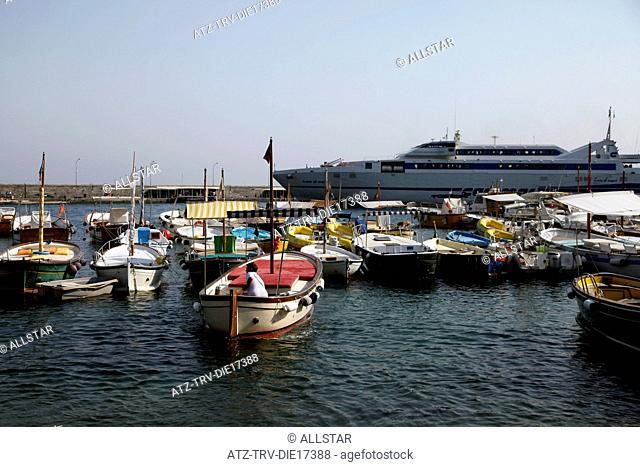 LARGE FERRY & FISHING BOATS; MARINA GRANDE, ISLAND OF CAPRI, ITALY; 17/09/2011