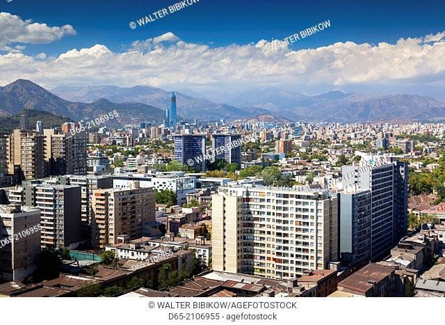 Chile, Santiago, elevated city view towards the Gran Torre Santiago tower