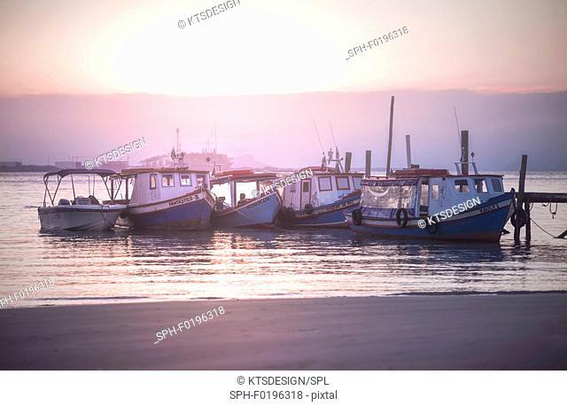 Fishing boats, Ilha Do Mel, Parana, Brazil