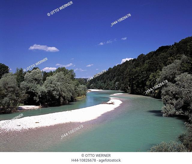 scenery, landscape, river scenery, river Isar, meadows, pastures, Kalvarienberg, bath Tolz, Isarwinkel, foothills, Alp