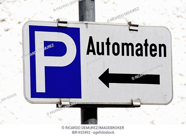 Parking meters sign, Bad Ischl, Upper Austria, Europe