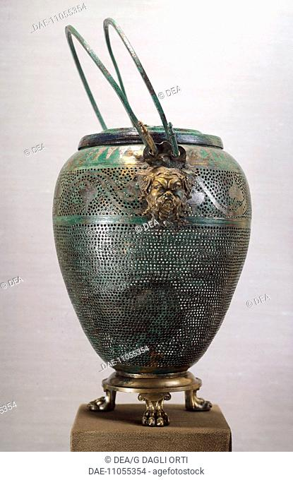 Bronze lantern, from the royal tomb of Philip II, Vergina (Greece). Goldsmith art, Greek Civilization, 4th Century BC.  Tessalonica, Museo Archeologico
