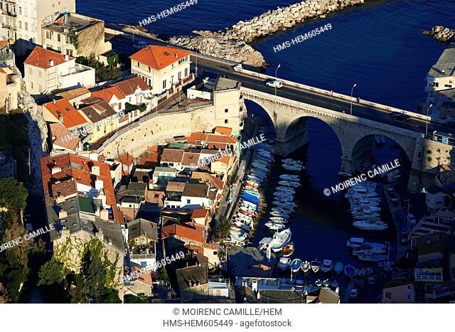 France, Bouches du Rhone, Marseille, 7th district, the Vallon des Auffes aerial view