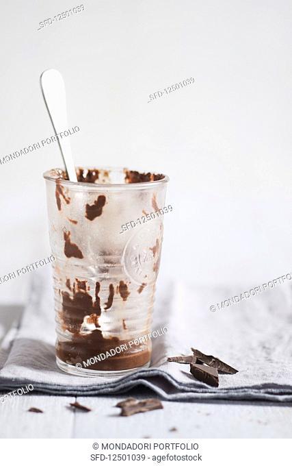 An empty glass of chocolate ice cream