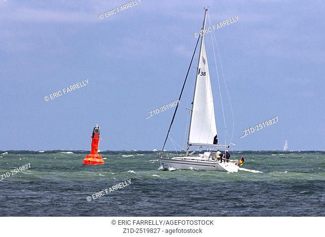 Yacht sailing. Warnemunde Rostock Germany