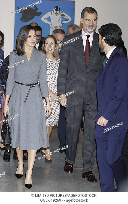 King Felipe VI of Spain, Queen Letizia of Spain attends the Opening the exhibition 'Poetics of democracy. Images of the Transition' at Reina Sofia Museum...