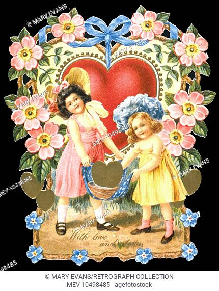 Valentines card with hearts and flowers, and two children carrying a basket. The greeting reads: With love and esteem
