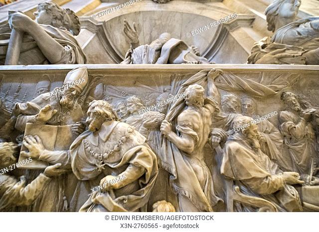 Rome, Italy- Close up of a Roman sculpture in (New) St. Peter's Basilica located in Vatican City (an enclave of Rome). Begun by Pope Julius II, St
