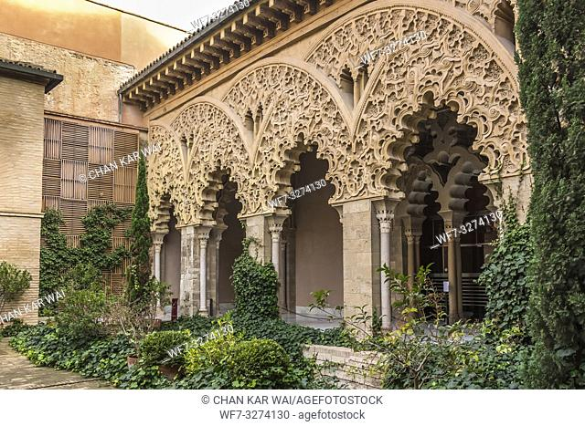 Zaragoza, Spain - Jan 2019: Flora at the south portico of Santa Isabel courtyard at Aljaferia Palace
