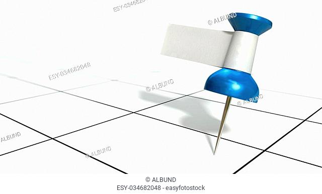 A blue thumbtack with a blank white tape tag attached to it on a generic calendar grid background