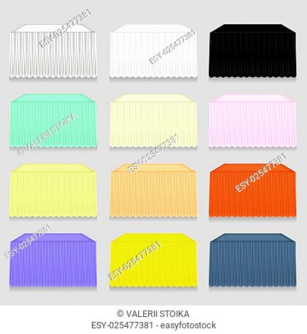 Set of Colorful Tableclothes Isolated on Grey Background