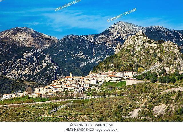 France, Alpes Maritimes, St Agnes, village in the sky, labelled Les Plus Beaux Villages de France  the Most Beautiful Villages of France