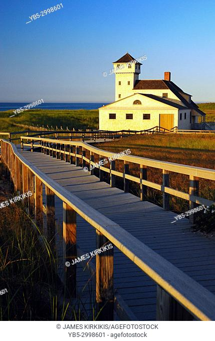 A boardwalk leads to the Race Point Life Saving Station at the northern tip of Cape Cod