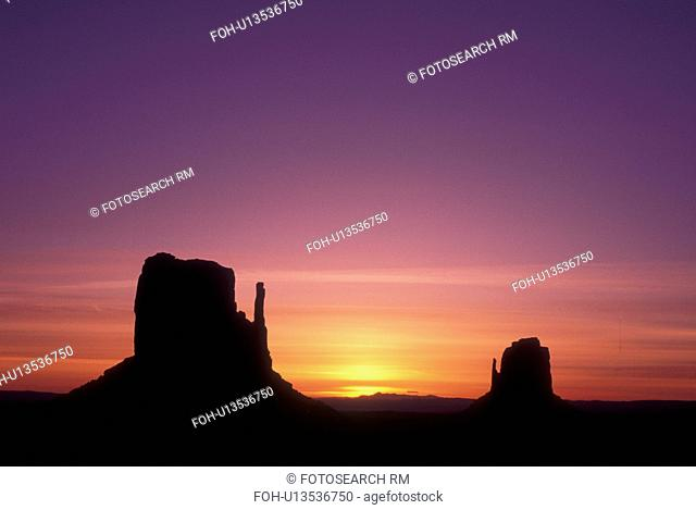 Monument Valley Navajo Tribal Park, AZ, Arizona, The Mittens Butte, sunrise