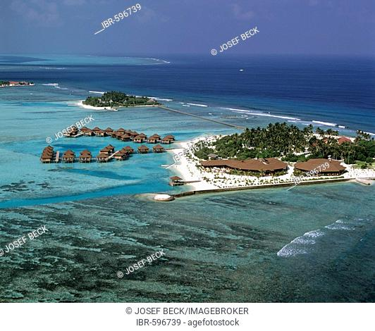 Bodu Huraa, aerial photograph, South Male Atoll, Maldives, Indian Ocean
