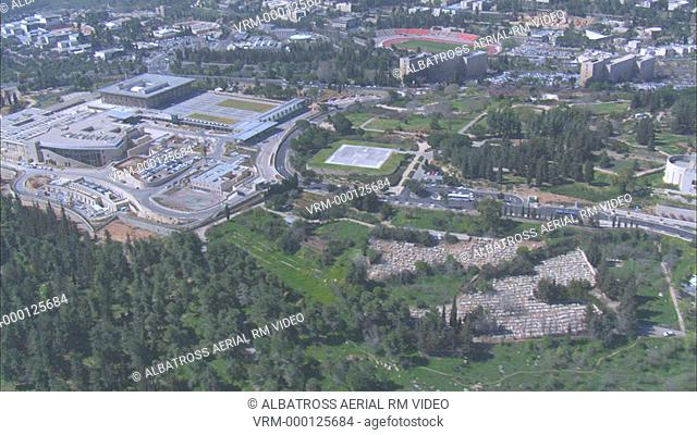 Aerial footage of Israel's Parliament - the Knesset - in the new city of Jerusalem