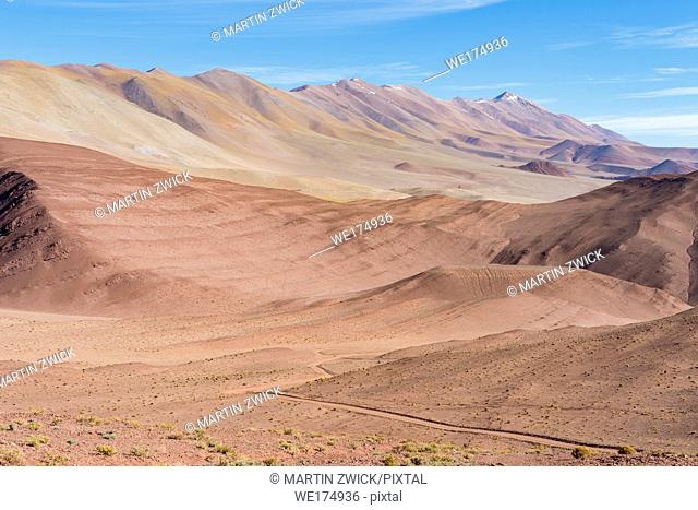The Argentinian Altiplano along the Routa 27 between Pocitos and Tolar Grande. South America, Argentina