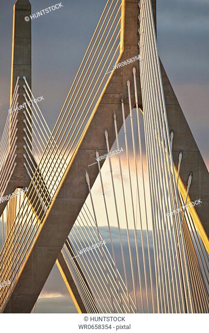 Suspension bridge at dusk, Leonard P. Zakim Bunker Hill Bridge, Charles River, Boston, Suffolk County, Massachusetts, USA