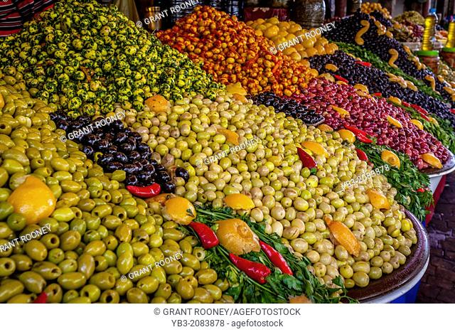 Spicy Olives for Sale, The Indoor Market, Agadir, Morocco