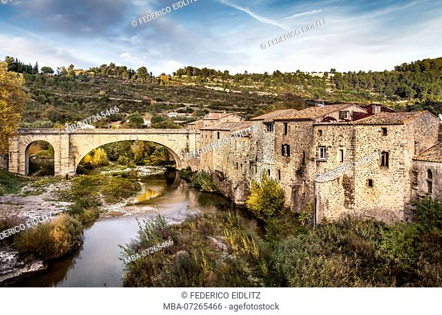 Bridge over the Orbieu in Lagrasse, plus beaux villages de France, last bastion of the Cathars