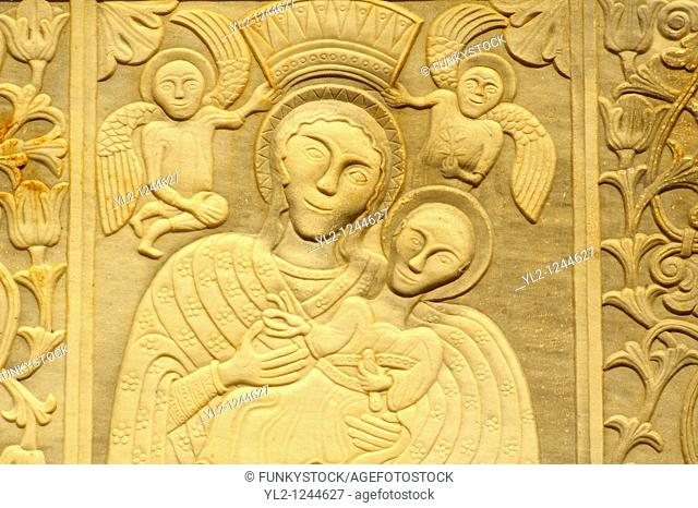 Exterior bas reliefs on the traditional Greek Orthodox church, Mykonos, Cyclades Islands, Greece