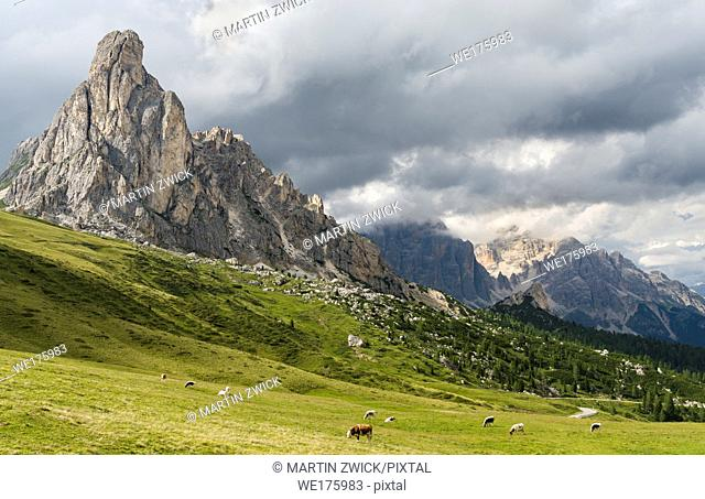 Dolomites at Passo Giau. Ra Gusela and the Tofane. The Dolomites are part of the UNESCO world heritage. Europe, Central Europe, Italy