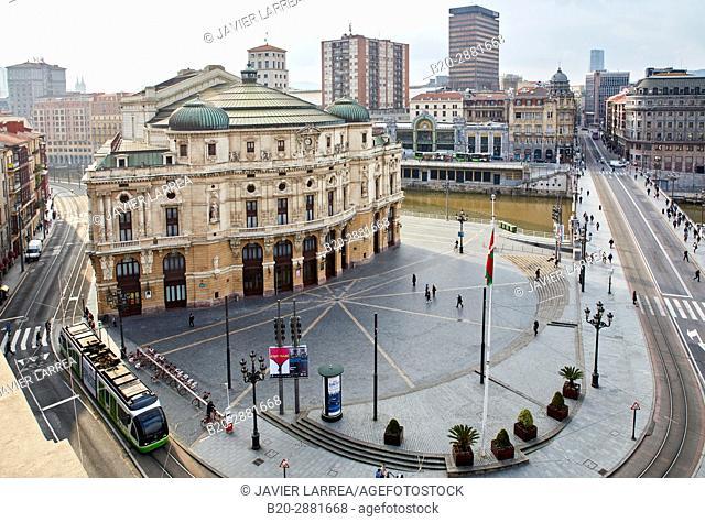 Arriaga Antzokia, Areatzako Zubia, Arriaga Plaza, Ria del Nervión, Bilbao, Bizkaia, Basque Country, Spain