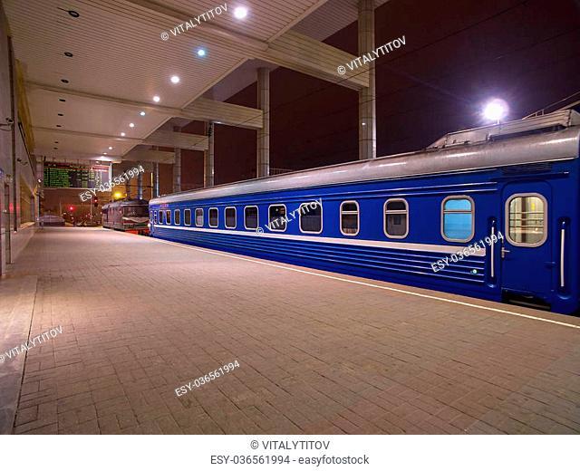 Night Passenger train sleeoer Carriage waiting on a Platform