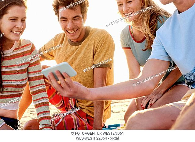 Happy friends with cell phone on the beach
