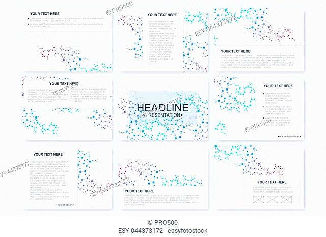Big set of vector templates for presentation slides. Modern graphic background structure molecule and communication. Scientific pattern atom DNA