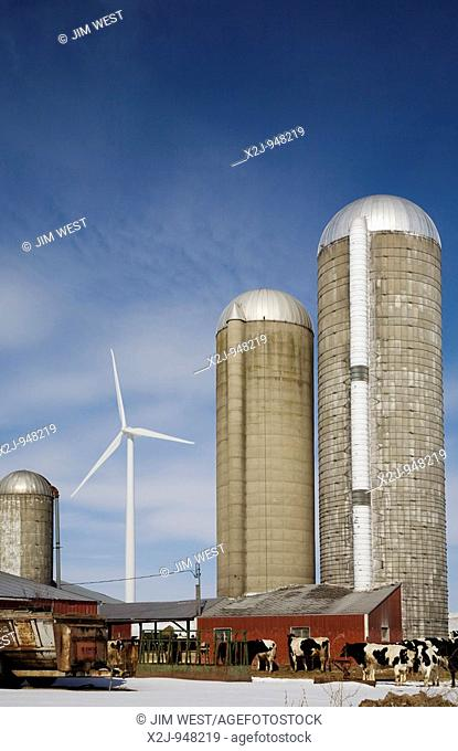 Ubly, Michigan - A wind turbine on a farm in the Noble Thumb Windpark, owned by John Deere Wind Energy  The wind farm uses 46 wind turbines to generate 69...