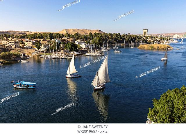 View of The River Nile and Nubian village on Elephantine Island, Aswan, Upper Egypt, Egypt, North Africa, Africa