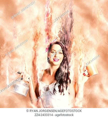 Imaginative retro portrait of a beautiful girl holding a drinking cup and old kettle while emulsifying into vapours of hot coffee liquid