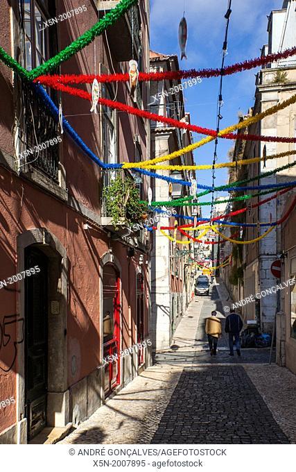 Streets of Bairro Alto During Festas Populares, Lisbon, Portugal, Europe
