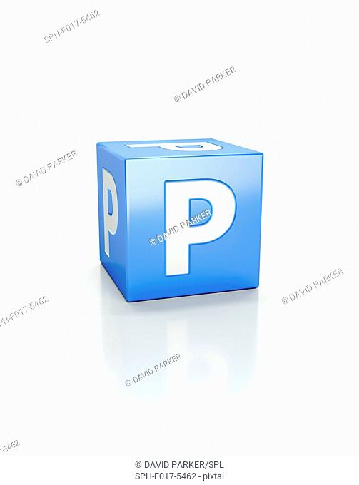Blue cube with letter P