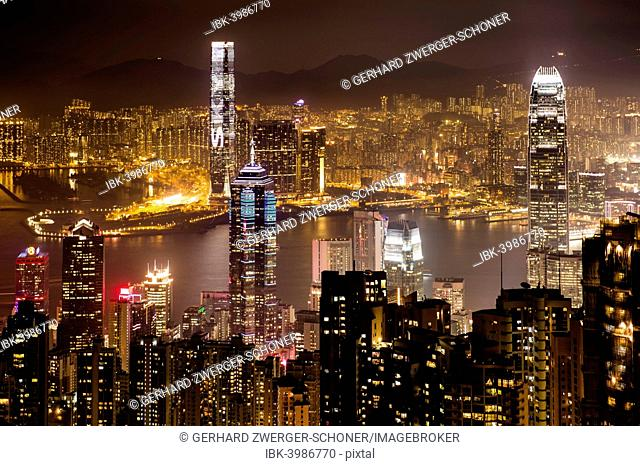 View over Hong Kong skyline from Victoria Peak at night, Central District, Hong Kong, China