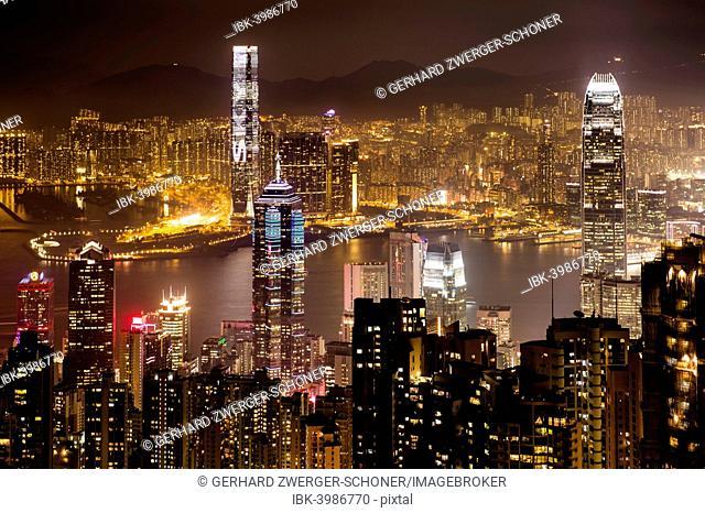 View over Hong Kong skyline from Victoria Peak at night, Central District, Hong Kong, China