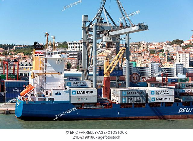 """The Container ship """"""""Dal East London"""""""" busily discharging cargo at the Container berth Lisbon Harbour"""