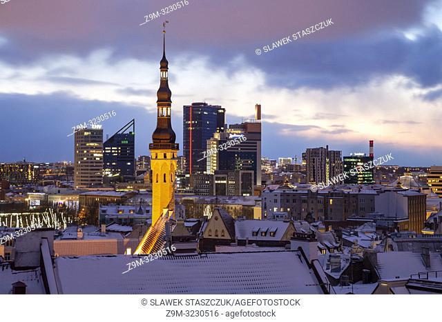 Winter dawn in Tallinn, Estonia