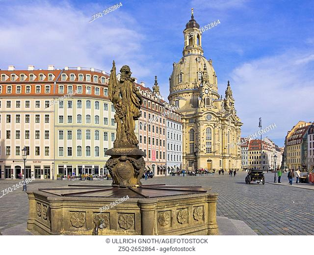 Frauenkirche Church and Friedensbrunnen Well, Dresden, Saxony, Germany, as seen as from Judenhof Square