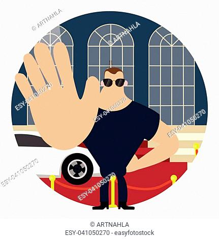 body guard on red carpet stop sign with hand big body vector