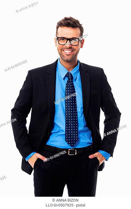 Self confident, pleased and handsome businessman Debica, Poland