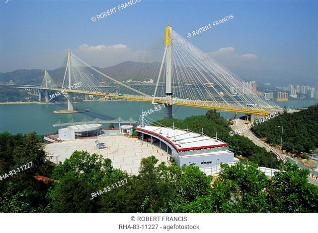 The 1177m cable stayed Ting Kau Bridge linking the northwest New Territories, city and airport via Tsing Yi island, part of the huge airport project, Hong Kong