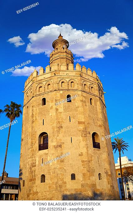 Seville torre del Oro sunset in Sevilla Andalusia Spain