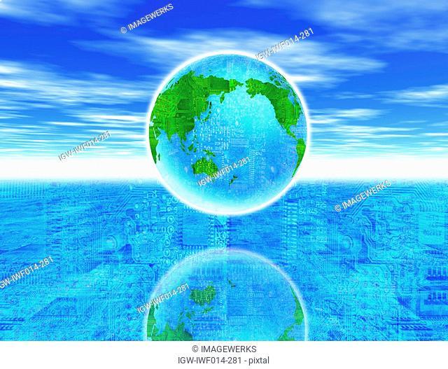 Digital composite of globe over circuit