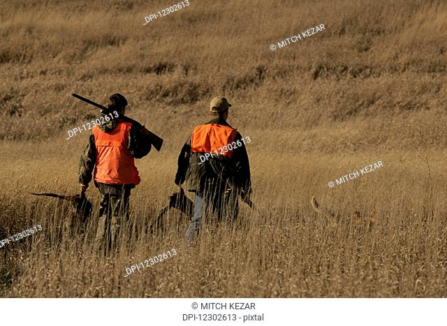 Upland Pheasant Bird Hunters On Prairie With Yellow Lab